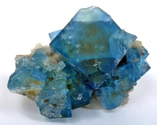 Blue fluorite crystals