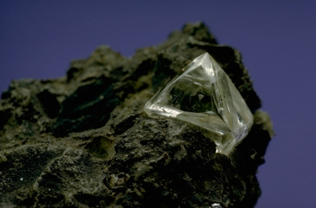 Dark brown rough kimberlite with a clear colorless crystal poking out at one side, which just happens to be a diamond.