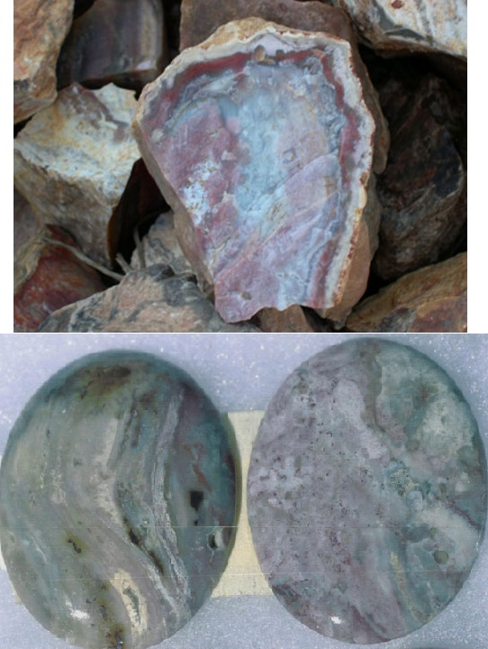 Purple and blue mozarkite in an irregularly shaped rock and two polished green and purple mozarkite cabochons