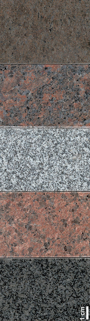 several different colors of granite slabs