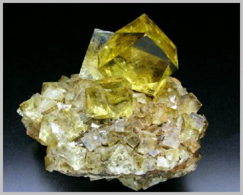 Yellow Fluorite Crystals