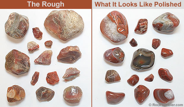 A group of about ten reddish-brown rocks with stripes, separated into two sections: before tumbling and after tumbling.  The rocks in the after section are much shinier and more brightly colored.