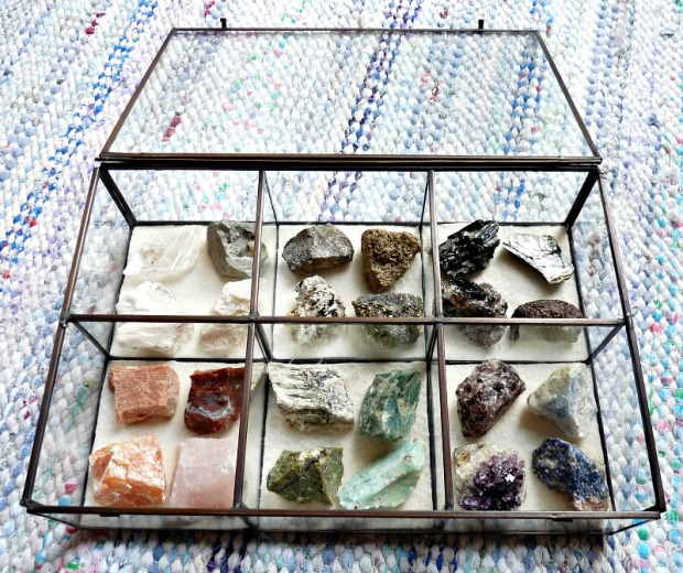 A rock collection arranged by color in a pretty glass box.