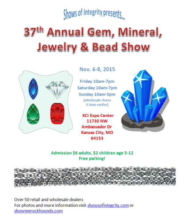 Flyer describing the time and place of the 2015 fall gem show at the Kansas City Expo Center