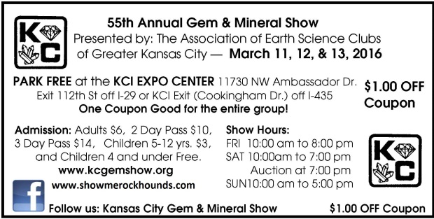 one dollar off admission to Kansas City Spring 2016 Gem and Mineral Show