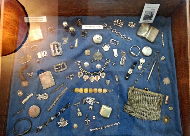 Case full of handmade silver jewelry