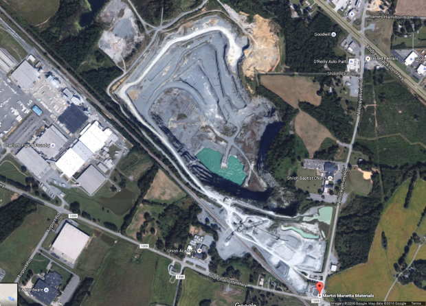 Bakers quarry mine north carolina aerial view map