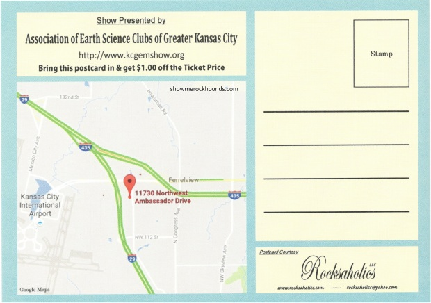 postcard with map to kansas city gem show and coupon