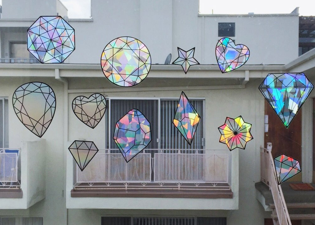 cut gems window clings rainbows shiny