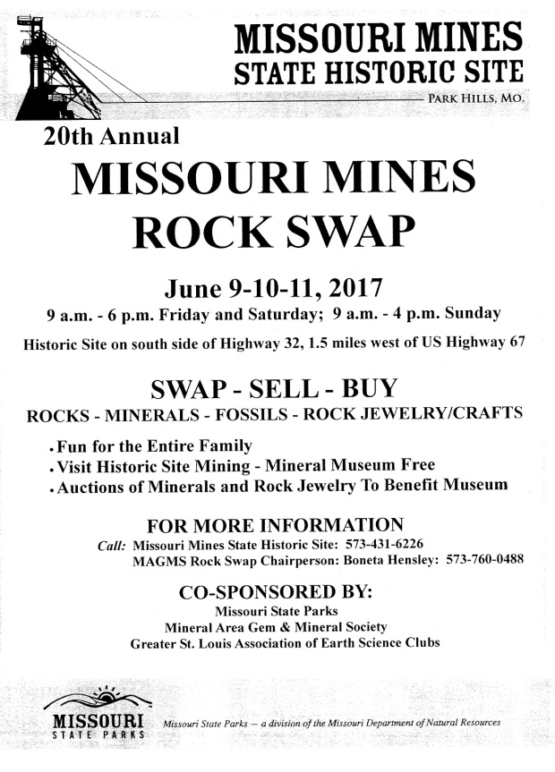 Missouri Mines Rock Swap June 2017 mineral auction Park Hills