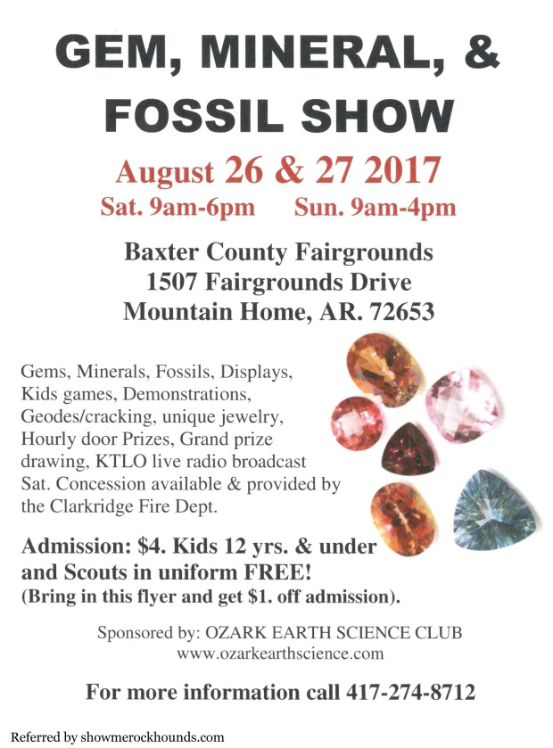 flyer about gem and mineral show in mountain home Arkansas by the ozark earth science club
