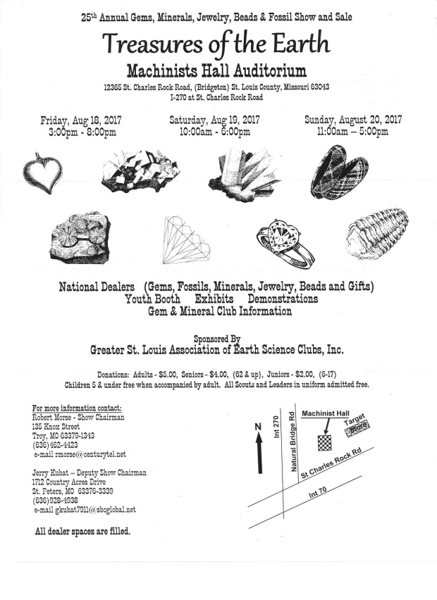flyer about st. louis gem and mineral show by greater st. louis association of earth science clubs