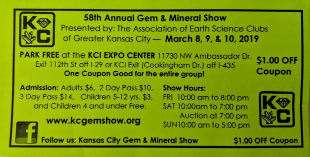 Coupon for the Gem and Mineral Show