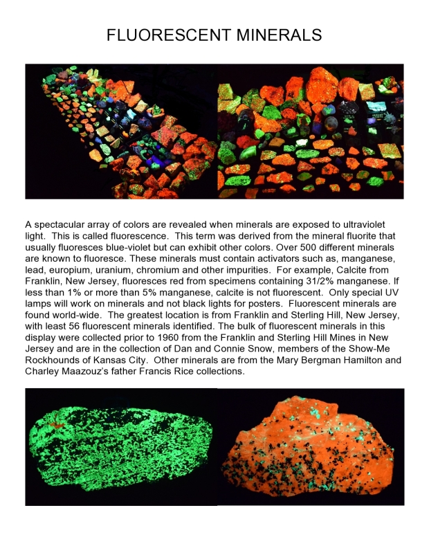 Fluorescent minerals photographed under short wave ultra-violet light and the description of minerals and collections.