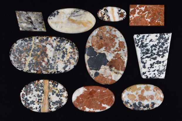 Franklinite Cabochons under white light.